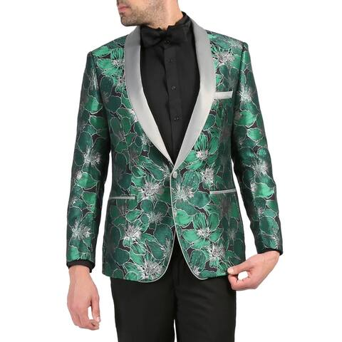 Ferrecci Mens Hugo Premium Floral Pattern Shawl Slim Fit Tuxedo Blazer
