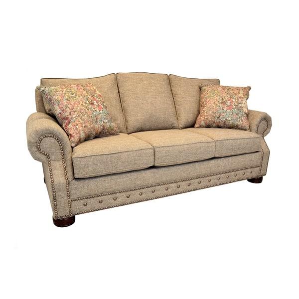 Whitaker Khaki Tweed Sleeper Sofa With Nailhead Trim Innerspring Memory Foam Memory Flex