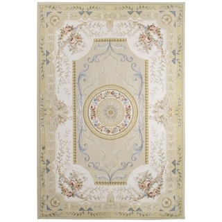 Handknotted Wool Aubusson Rug - 8' x 8'