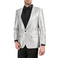 Ferrecci Mens RENE Silver Premium Abstract  Pattern Shawl Slim Fit Tuxedo Blazer