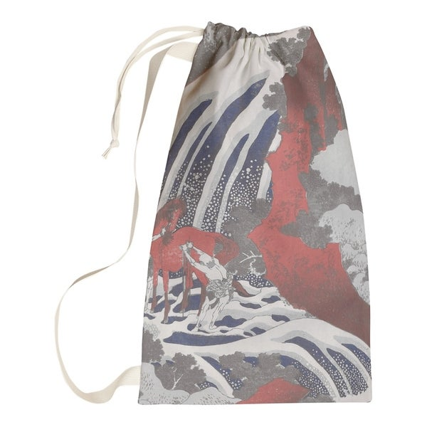 Katsushika Hokusai Horse And Waterfall In Gray Red Laundry Bag Free Shipping On Orders Over 45 26860518