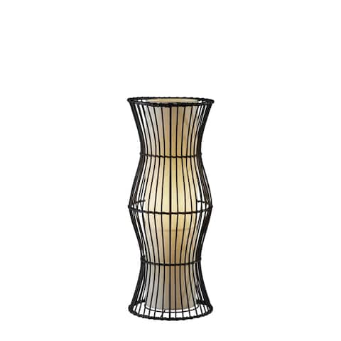 The Curated Nomad Zoe Black Rattan Table Lantern