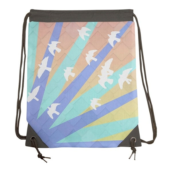 Shop Katelyn Smith Birds and Sun Blue and Orange Ombre Drawstring Gym Bag -  Drawstring Gym Bag - Free Shipping Today - Overstock.com - 26862859 3a0976a8159ec