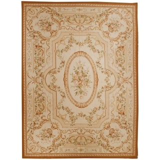 Handknotted Wool Aubusson Rug - 9' x 12'2''