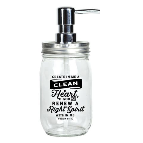 Create In Me A Clean Glass Mason Jar Soap Dispenser 16 ounces