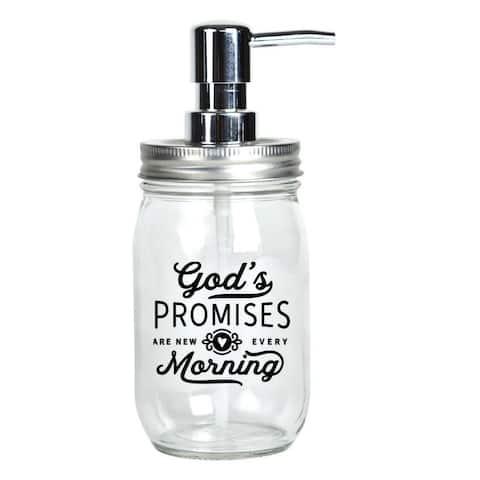 God's Promises Glass Mason Jar Soap Dispenser 16 ounces