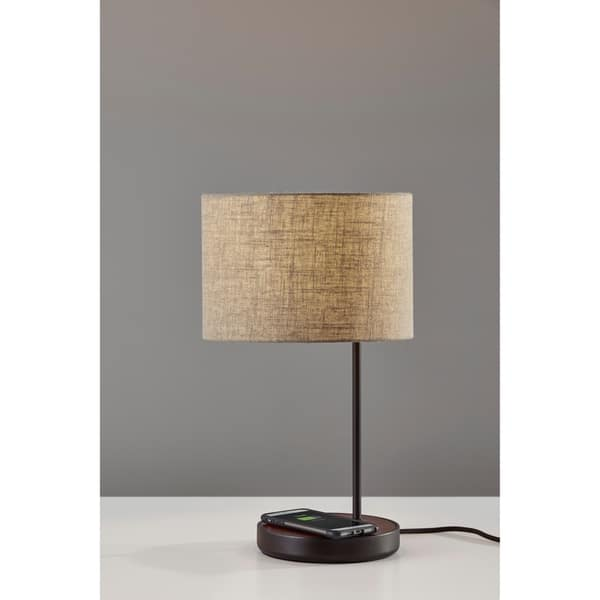 Shop Carbon Loft Melville Matte Black And Walnut Table Lamp