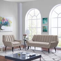 Handy Living Rochelle Mid Century Modern Sofa and Arm Chair Set