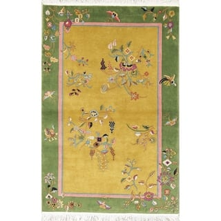 """Art Deco China Transitional Floral Hand Made Wool Oriental Area Rug - 5'10"""" x 3'11"""""""
