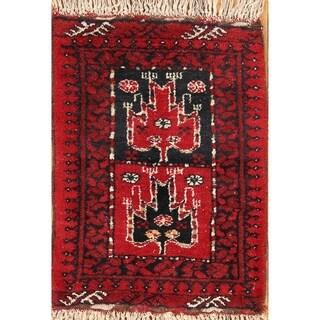 "Balouch Afghanistan Geometric Handmade Wool Oriental Area Rug - 2'4"" x 1'9"" Square"