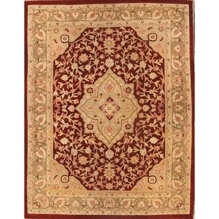 "Antique Agra India Floral & Botanical Handmade Wool Oriental Area Rug - 12'1"" x 9'4"""