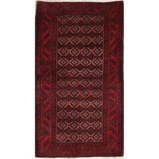"Vintage Balouch Afghanistan Geometric Handmade Wool Oriental Area Rug - 6'2"" x 3'6"""