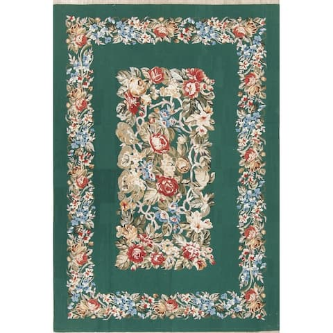 """Aubusson China Transitional Floral Hand Woven Wool Oriental Area Rug - 8'7"""" x 5'10"""""""
