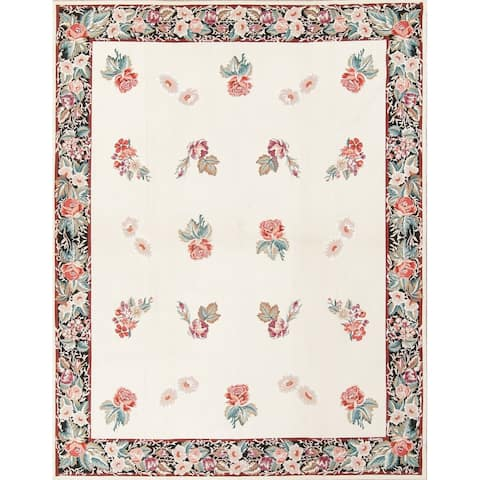 """Aubusson China Transitional Floral Hand Woven Wool Oriental Area Rug - 9'8"""" x 7'7"""""""