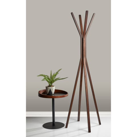Adesso Black with Natural or Walnut Wood Crater End Table