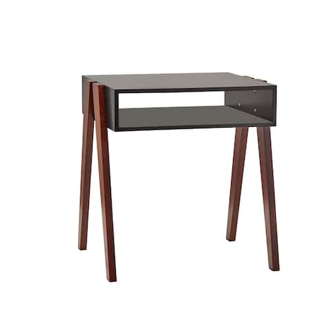 Adesso Laurel Black or White with Walnut Console End Table