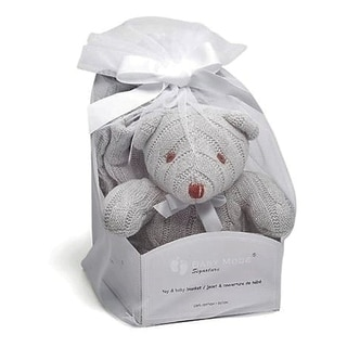 Cable Knit Bear Toy with Baby Blanket Gift Set