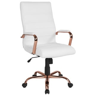High Back Executive White Leather Adjustable Office Chair With Rose Gold Metal Base And Padded Arms