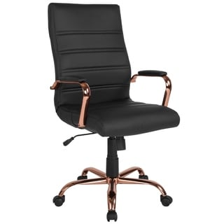 High Back Executive Black Leather Adjustable Office Chair With Rose Gold Metal Base And Padded Arms