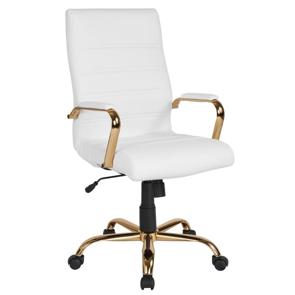 High Back Executive White Leather Adjustable Office Chair With Gold Metal Base And Padded Arms