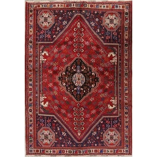 """Vintage Abadeh Geometric Hand Made Wool Persian Area Rug - 9'4"""" x 6'6"""""""