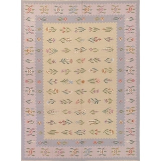 "Kilim India Transitional Floral Hand Woven Wool Oriental Area Rug - 11'6"" x 8'6"""