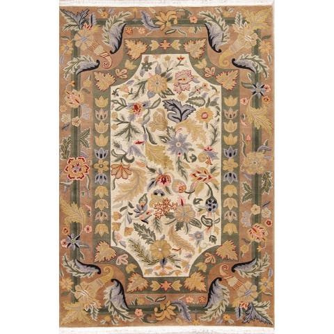 "Nepal India Transitional Floral Hand Made Wool Oriental Area Rug - 8'9"" x 5'11"""