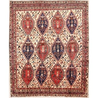 "Antique Abadeh Geometric Hand Made Wool Persian Area Rug - 5'3"" x 4'5"""