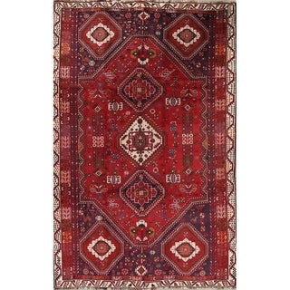 """Vintage Abadeh Geometric Hand Made Wool Persian Area Rug - 9'4"""" x 6'0"""""""