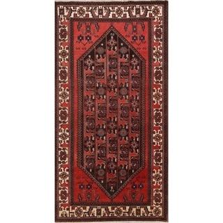 """Vintage Bakhtiari Geometric Handmade Wool Persian Rug - 9'9"""" x 5'1"""" Runner"""