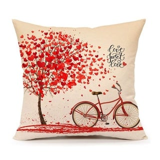 Red Tree and Love Bicycle Home Decoration Pillowcovers