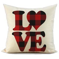 Red and Black Buffalo Check Plaid Love Pillow Covers
