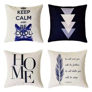 Letter Geometric Decorative Throw Pillow Covers