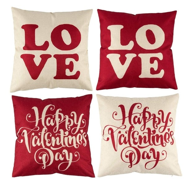 Happy Valentine's Day Throw Pillow Covers