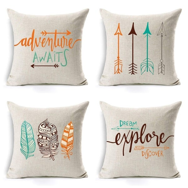 Arrow Cotton Linen Throw Pillow Covers