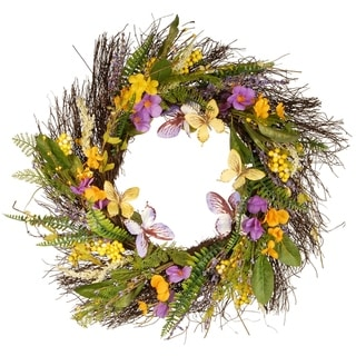 "Link to 24"" Spring Mixed Flowers Wreath Similar Items in Decorative Accessories"