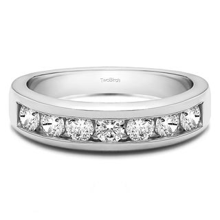 Platinum Seven Stone Channel Set Wedding Ring Mounted With Moissanite 0 25 Cts Twt