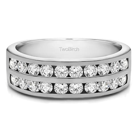 10k Gold Double Row Channel Set Anniversary Band mounted with Moissanite (0.5 Cts. twt)