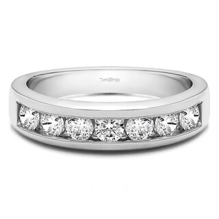10k Gold Seven Stone Channel Set Wedding Ring Mounted With Moissanite 0 98 Cts Twt