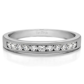 Platinum Eleven Stone Straight Channel Wedding Ring Mounted With Moissanite 0 5 Cts Twt
