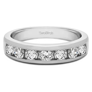 Platinum Seven Stone Straight Channel Set Wedding Ring Mounted With Moissanite 0 27 Cts Twt