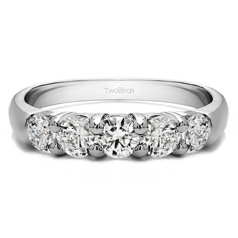 Platinum Five Stone Common Prong Anniversary Band mounted with Moissanite (1.02 Cts. twt)