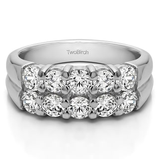 Platinum Double Row Shared Prong Ten Stone Anniversary Band Mounted With Moissanite 1 48 Cts Twt