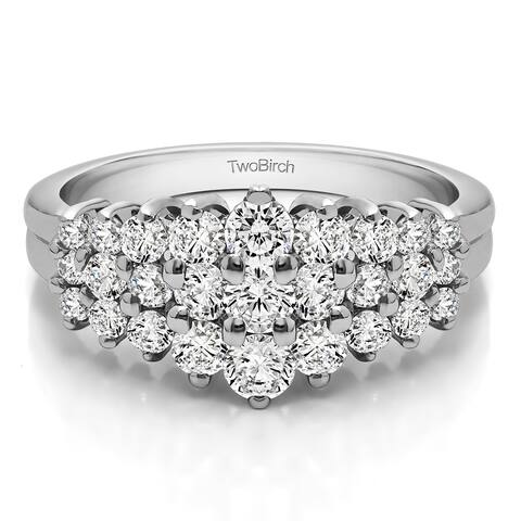 10k Gold Domed Three Row Shared Prong Anniversary Ring mounted with Moissanite (0.24 Cts. twt)