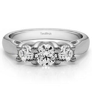 14k Gold Three Stone Trellis Set Wedding Ring Mounted With Moissanite 1 72 Cts Twt
