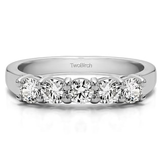 14k Gold Five Stone Shared Prong U Set Wedding Band Mounted With Moissanite 1 Cts Twt