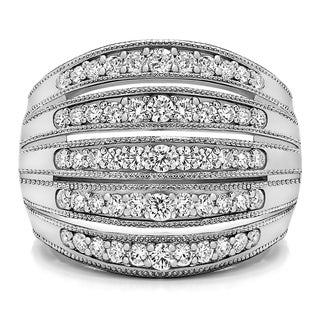 14k Gold Large Domed Milgrained Anniversary Band Mounted With Moissanite 0 52 Cts Twt