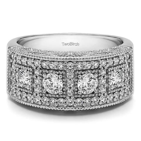 Platinum Vintage Pave Set Anniversary Ring mounted with Moissanite (1.01 Cts. twt)