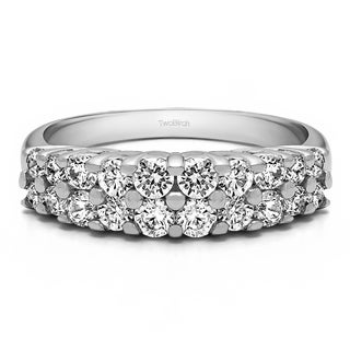 10k Gold Double Row Double Shared Prong Anniversary Band Mounted With Moissanite 0 96 Cts Twt