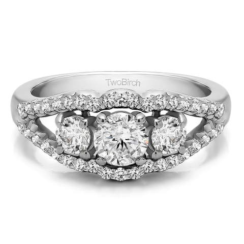 Platinum Three Stone Prong Set Wedding Band mounted with Moissanite (1.04 Cts. twt)